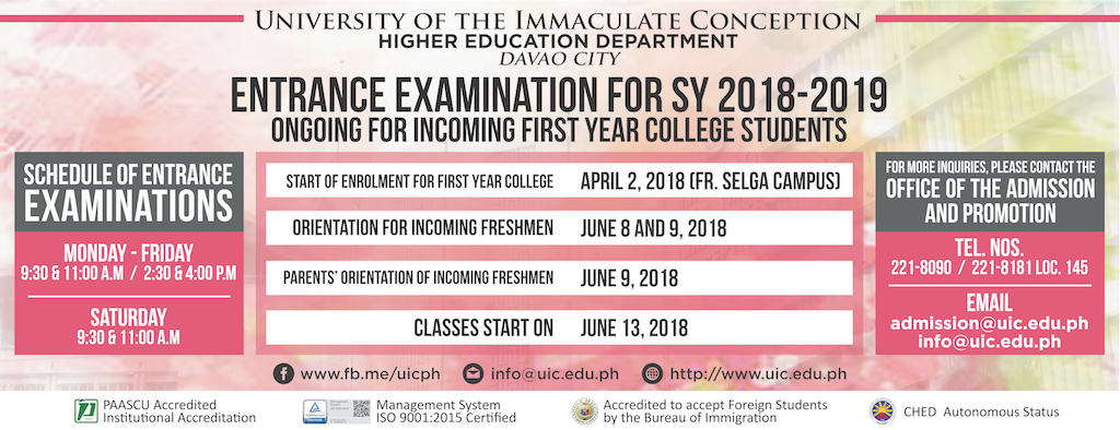 Entrance Examination Schedule for SY 2018-2019 for Incoming First Year College Students